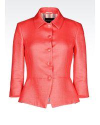 Emporio Armani Godet Jacket With Raffia Effect - Lyst