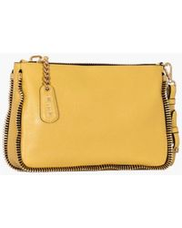 Moschino Leather Color Mustard With Zip Details Clutch yellow - Lyst