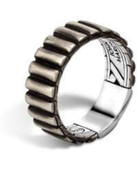 John Hardy Bedeg Linear Line Pattern Band Ring black - Lyst