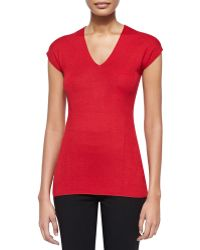 Donna Karan New York Cap-sleeve V Neck Top - Lyst