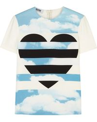 Moschino Cheap & Chic Heart Clouds Crepe Tshirt - Lyst
