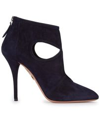 Aquazzura - Sexy Thing Navy Suede Ankle Boots - Lyst