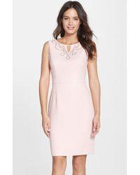 Ellen Tracy Embellished Boucle Sheath Dress - Lyst