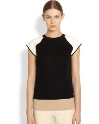 Reed Krakoff Leather Detail Knit Top - Lyst