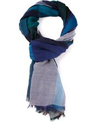 Burberry Blue Check Scarf - Lyst