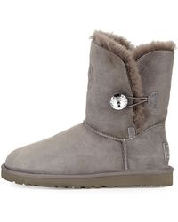 Ugg Monogrammed Bailey Crystal Button Short Boot - Lyst