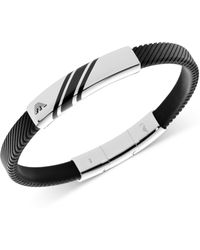 Emporio Armani Stainless Steel and Black Stripe Bracelet - Lyst