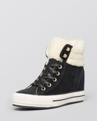 Converse Lace Up High Top Wedge Sneakers - Faux-shearling - Lyst