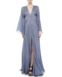 Versace Plunging V-neck Silk Gown - Lyst