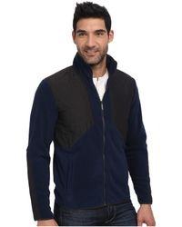 Calvin Klein Long Sleeve Mix Media Full Zip Sweatshirt - Lyst
