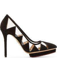 Charlotte Olympia Black Suede and Vinyl Ana Maria Pumps - Lyst