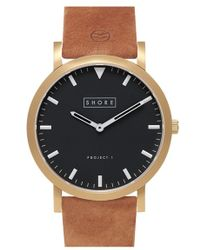 Shore Projects - 'whitsable' Round Leather Strap Watch - Lyst