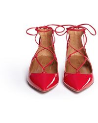 Aquazzura | 'christy' Lace-up Patent Leather Flats | Lyst