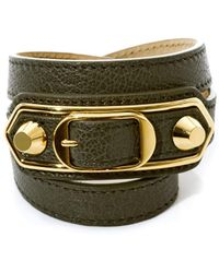 Balenciaga Studded Leather Wraparound Bracelet - Lyst