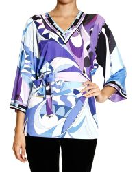Emilio Pucci Top Sleeve 3/4 Jersey Print Astana Tunic and Belt - Lyst