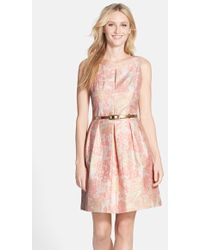 Tahari Belted Metallic Floral Jacquard Fit and Flare Dress - Lyst