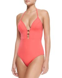 Jets by Jessika Allen Plunging Halter-neck One-piece Swimsuit - Lyst