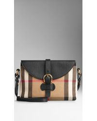 Burberry Small House Check and Leather Crossbody Bag - Lyst