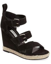 Balenciaga Suede Espadrille Wedge Sandal black - Lyst