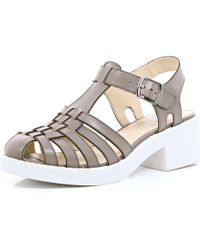 River Island Grey Strappy Block Heel Sandals - Lyst