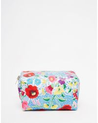 Jaded London - Blue Crochet Floral Lace Print Make-up Bag - Lyst