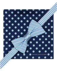 Tommy Hilfiger Stripe Bow Tie & Jumbo Dot Pocket Square Set - Lyst
