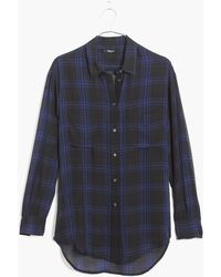 Madewell Silk Spotlight Shirt in Deep Plaid - Lyst
