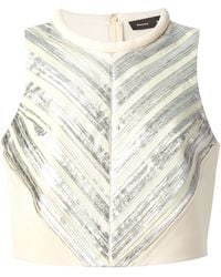 Proenza Schouler Silver Striped Top - Lyst