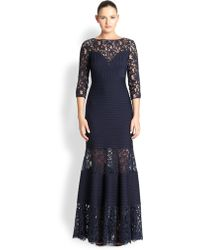 Tadashi Shoji Pintucked Jersey  Lace Gown - Lyst