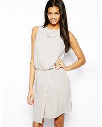 Asos Shift Dress with Drape Front - Lyst