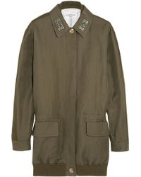 Sonia Rykiel Crystal-Embellished Linen And Cotton-Blend Twill Parka - Lyst