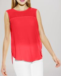 Vince Camuto Sleeveless Sheer Panel Top - Lyst