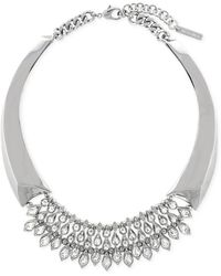 Vince Camuto Light Rhodium-tone Frontal Drama Teardrop Necklace - Lyst