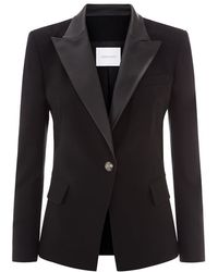 Balmain Leather Lapel Wool Blazer - Lyst