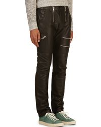 Diesel Black Grained Leather P_zipps Trousers - Lyst