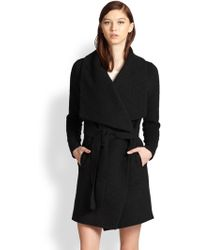 Vince Leather-Trimmed Asymmetrical Coat - Lyst