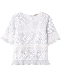 Rebecca Taylor Tile Lace Ruffle Top - Lyst