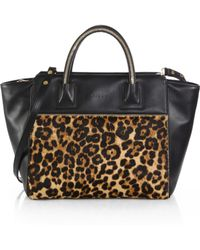 Milly Logan Large Leather Calf Hair Tote - Lyst