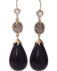 Sylva & Cie Ebony Drop Earrings - Lyst
