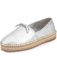 Prada Metallic Leather Cap-Toe Flat Espadrille - Lyst