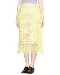 Erdem 'Ama' Greenhouse Guipure Lace Skirt yellow - Lyst