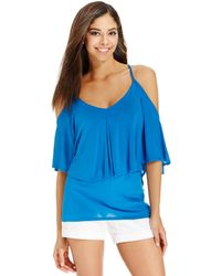 Vince Camuto Two By Cold-Shoulder Flounce Overlay Top - Lyst