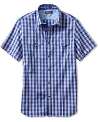 Banana Republic Slim Fit Short Sleeve Multi Gingham Utility Shirt Purple Heart - Lyst