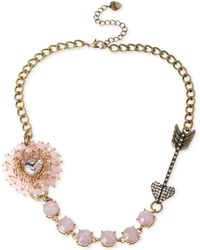 Betsey Johnson Gold-tone Woven Pink Beaded Heart Frontal Necklace - Lyst