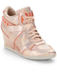 Ash Bisou Bis Studded Metallic Leather Wedge Sneakers - Lyst
