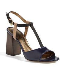 Lanvin Colorblock Square Heel Sandal - Lyst