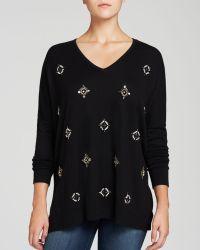 Karen Kane Embellished Front Sweater - Lyst