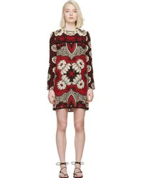 Valentino Red Silk Crepe Printed Dress - Lyst