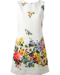 Dolce & Gabbana Floral Quilted Dress - Lyst