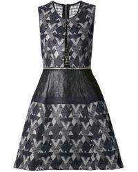 Yigal Azrouel Woven Zigzag Print Dress - Lyst